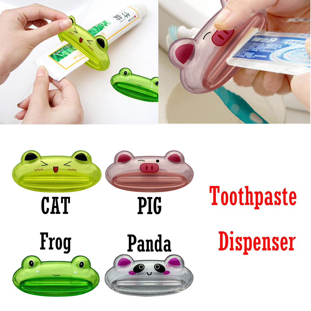 2018 New Fashion Cute Bathroom Home Tube Rolling Holder Squeezer Easy Cartoon Toothpaste ...