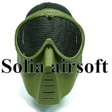 Tactical Airsoft Full Face No Fog Goggle Hunting Mask Paintball Wargame Green