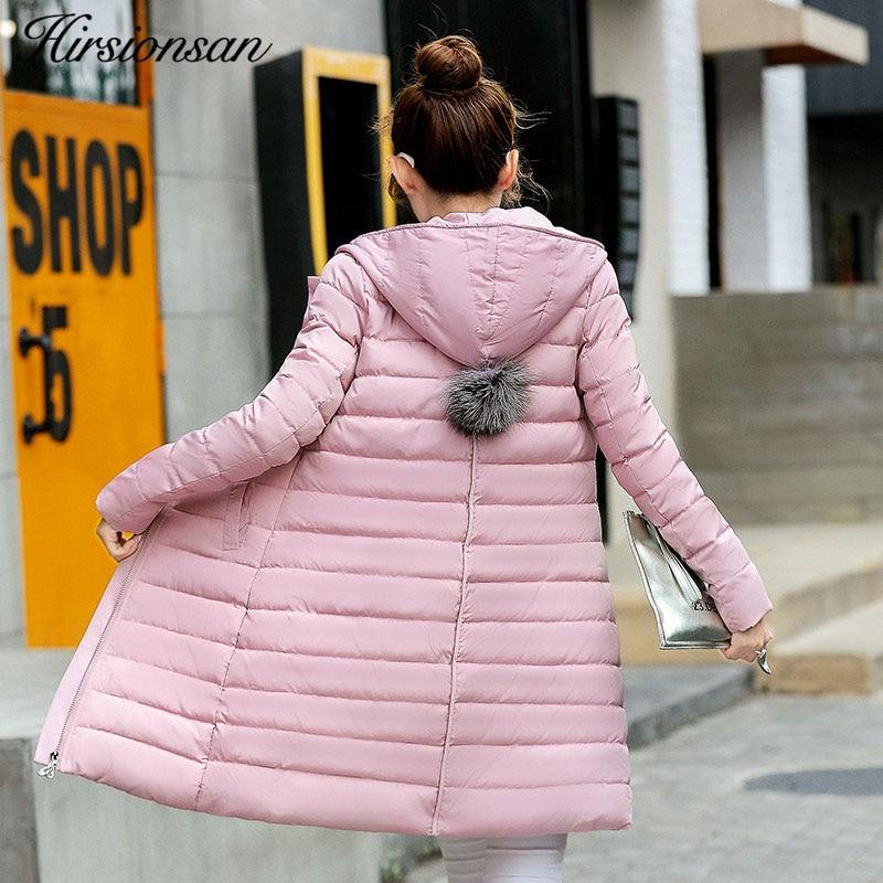 Hirsionsan Winter Jacket Women 2017 Female Hooded Fur Down Jackets Cotton Zipper Coat Parkas Mid-long Jaqueta Feminina Inverno