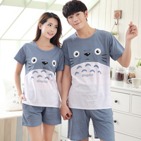 2017 New Summer Cotton Couples Pajamas Sets Cartoon Totoro Men's Pajamas Sweet Girls Lounge Women Pyjama femme 3XL Home Clothing