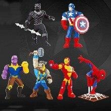 Marvel Avengers Super Hero Spiderman Black Panther Thanos Alien DIY Micro Diamond Nano Blocks Brick Mini Building Toy no Box