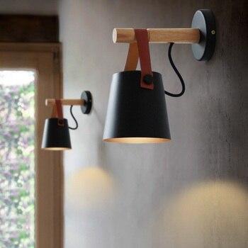 北欧 Led ウォールランプ革リビングルームの壁燭台ライト E27 木製ベルト壁灯通路背景カフェ照明