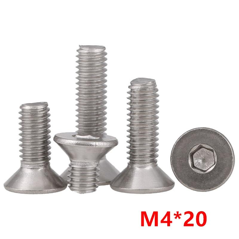 M4x20mm Hex Socket Machine Screw Countersunk Round Head Bolts 30PCS