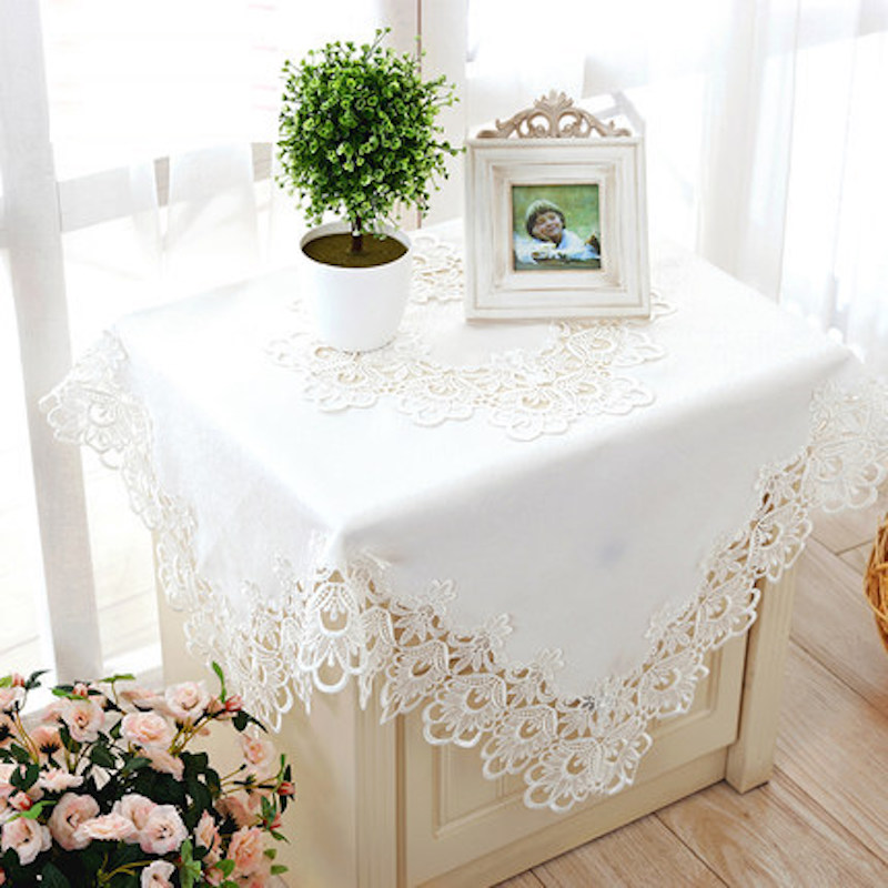 Lace Tablecloth TV Table Cloth Cover Runner Dia.120 150 180 40 X 180 220  130 X 180 150 X 21040   180cm X 60 X 220cm White Beige