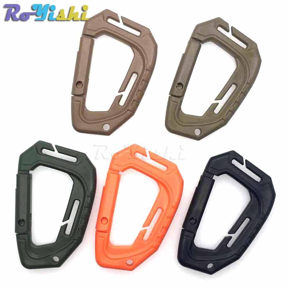500 pcs/pack D forme 200LB en plastique Snap Clip mousqueton alpinisme boucle en plein air suspendu porte-clés crochet escalade accessoires