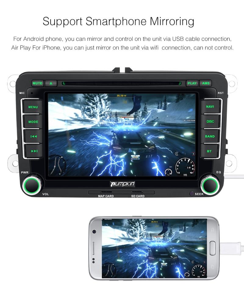 Pumpkin 2 Din Android 7.1 Car DVD Player GPS Navigation Bluetooth ...