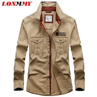 M 3XL Dress Shirt Men Military Style 100 Cotton Mens Shirt Long Sleeve Men Shirt Imported