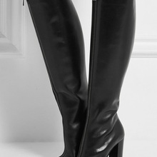 Woman Boots Autumn Fashion Black Leather Long Boots Square H