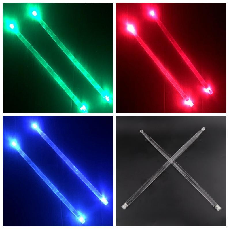 Купить с кэшбэком 5A Acrylic Drum Stick Noctilucent Glow in The Dark Stage Performance Luminous Jazz Drumsticks Red Green Blue 3 Colors Optional