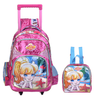 New Kids School Bags With Wheel Trolley Luggage For Girls Backpack