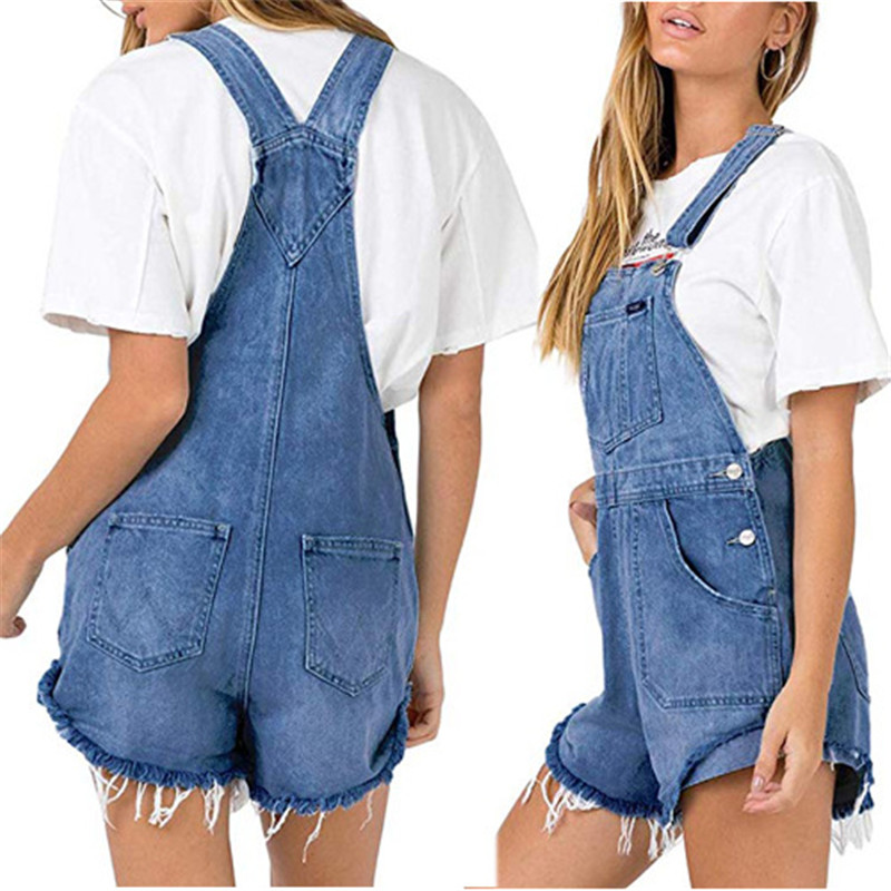 Women Denim Overalls Ripped Stretch Playsuit Dungarees High Waist Jumpsuit Girls Short Jeans Loose Shorts Rompers Jumpsuits in Rompers from Women 39 s Clothing