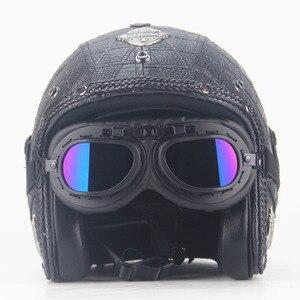 Image 1 - Dorosłych skórzane kaski 3/4 kask motocyklowy wysokiej jakości rower chopper kask otwarta twarz rocznika motocros
