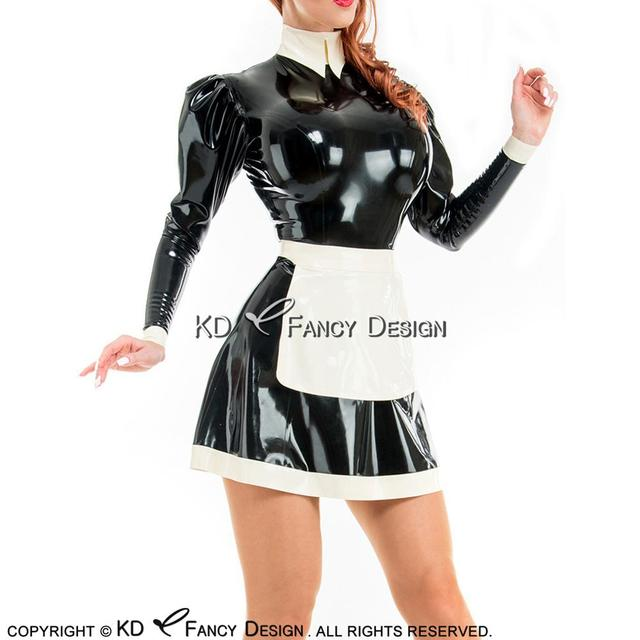 Black With White Apron Sexy French Maid Latex Dress With Zipper At Back Rubber Uniform Bodycon Playsuit LYQ-0124