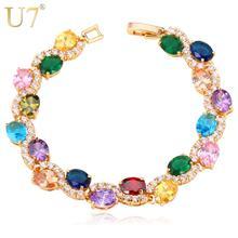 U7 Luxury Crystal Tennis Bracelet Charm Jewelry Gold Color AAA Cubic Zirconia Bracelets Bangles For Women