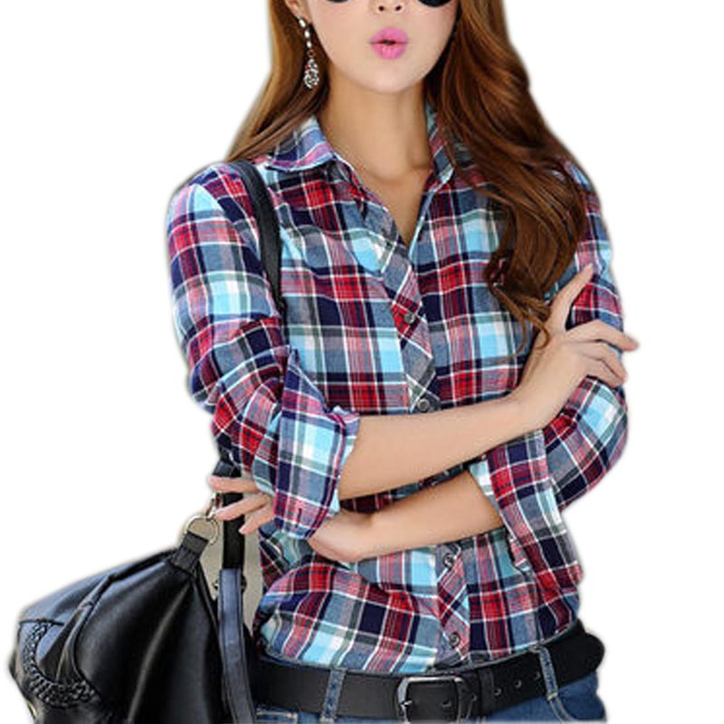 2017 spring women casual shirt long sleeve red white Womens red tartan plaid shirt