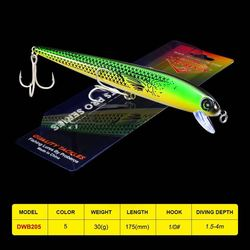 1PC Fishing Lures Minnow Balancer 17.5CM/30G Fishing Tackle 1/0# High Carbon Steel Treble Hook Carp Crank Fishing Bait