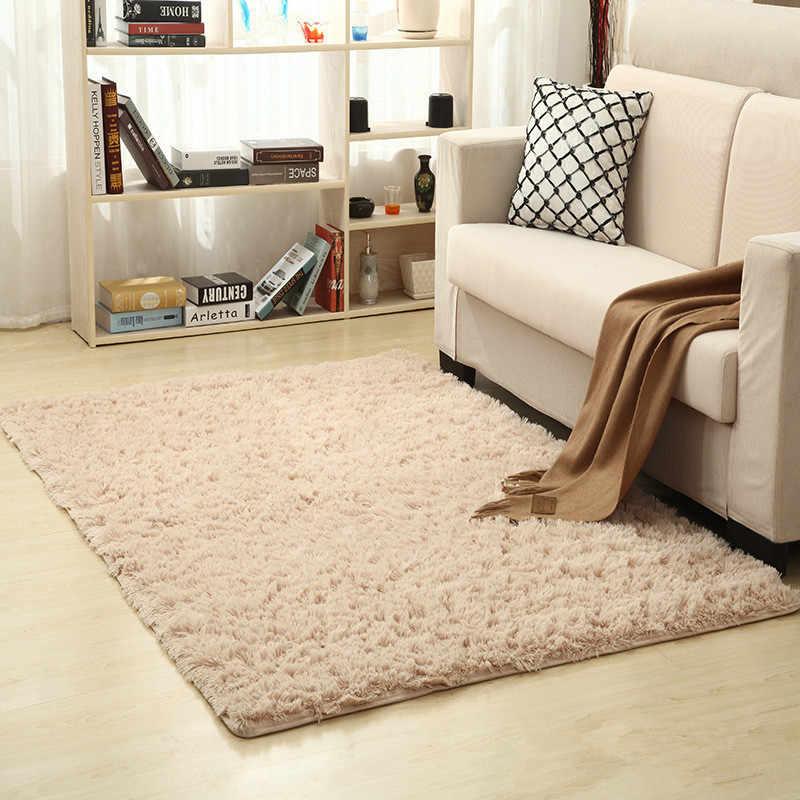 European Modern Rectangular Long Hair Carpet Anti Slip Silk Floor