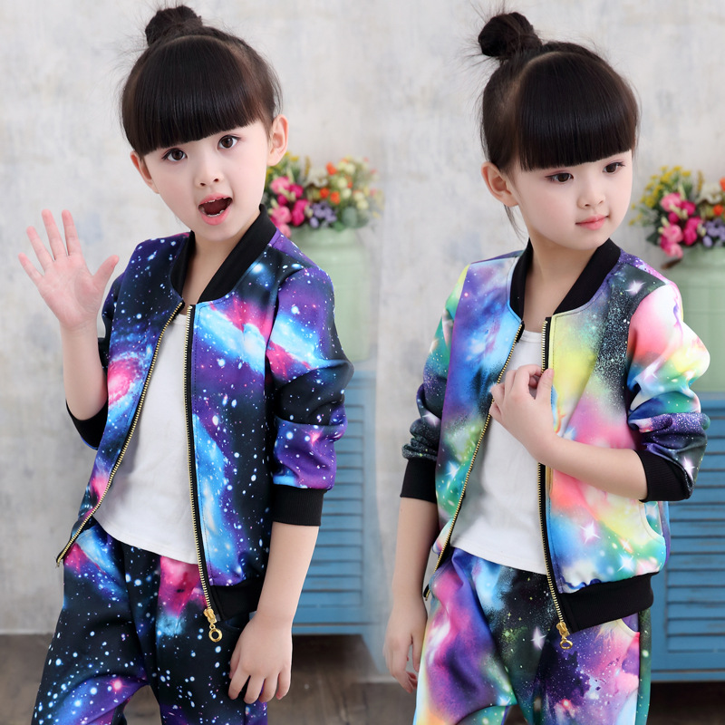 Fashion children clothes Sets 2017 spring autumn new girls cosmic printing long-sleeved Jacket+Pants two-piece girls sport suit men s spring fashion casual sport print hood sweatshirts trousers two piece suit