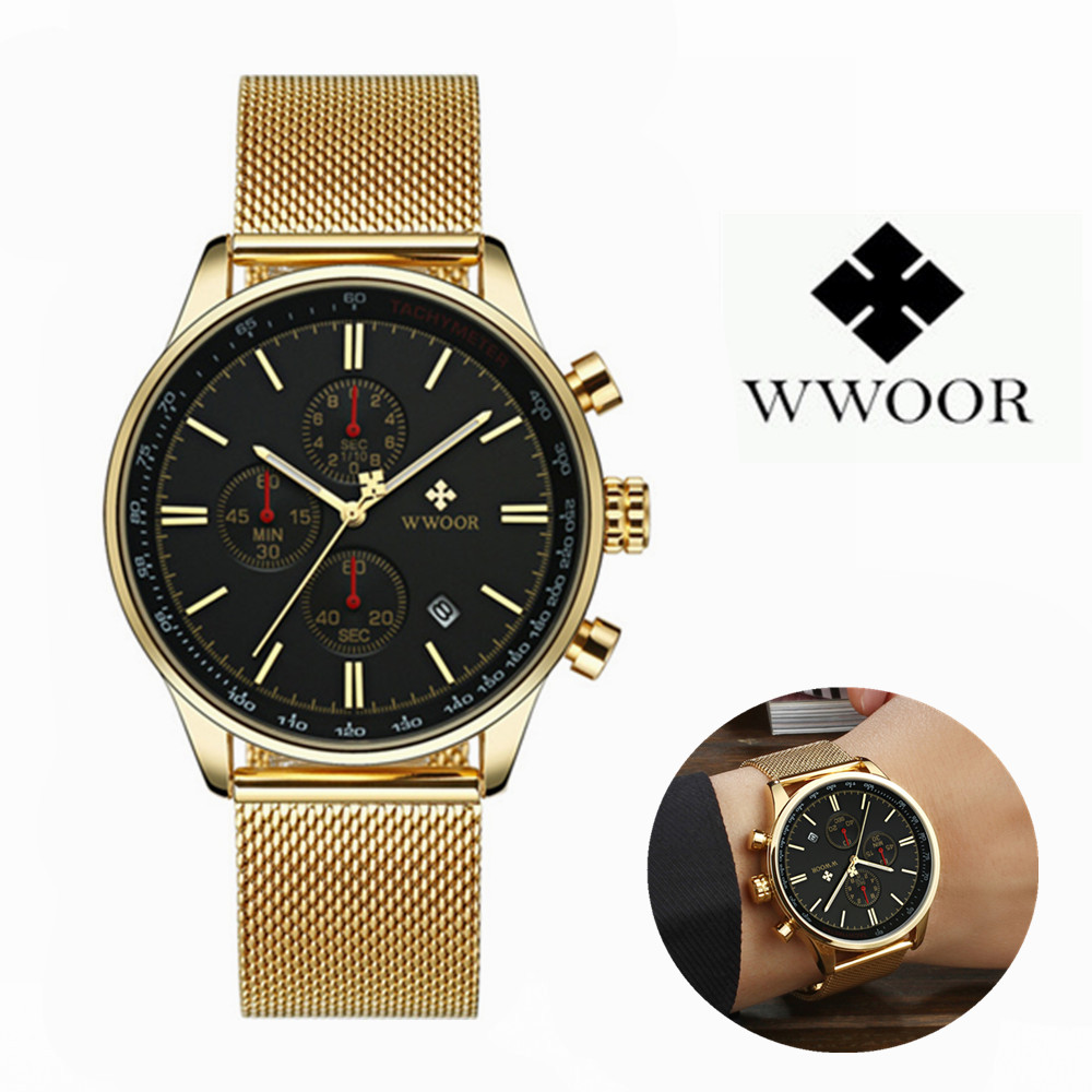 WWOOR Luxury Top Brand Men Watches Gold Stainless Steel Business Chronograph Waterproof Sport Men Quartz Wrist Watch Male Clock купить