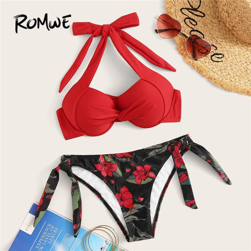 Romwe Sport Floral Bikinis Set Twist Underwired Halter Top With Tie Side Thong Bikini Bottom Swimwear Low Rise Sexy Swimsuit