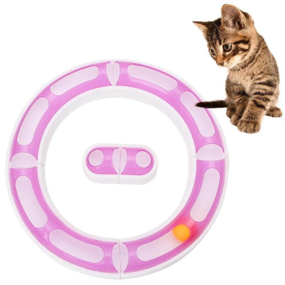 1 Set New Fun Chat Pet Bébé Piste Orbite Balle En Plastique Jouets Sens Jouer Chase Jeu Réglable