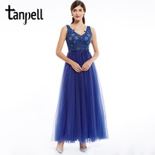 Tanpell v neck prom dress dark royal blue sleeveless ankle length a line dresses formal evening cheap beaded appliques gown