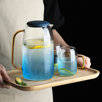 Large Water Jug Glass Water Pitcher Home Use Kettle Tea Pot Glass Water Jug With Handle for Boiling Cold Drinkware Glass Pitcher 780ml1200ml1800mllarge capacity thick glass cold water pots heat resistant explosion proof juice pot jug water jug kettles