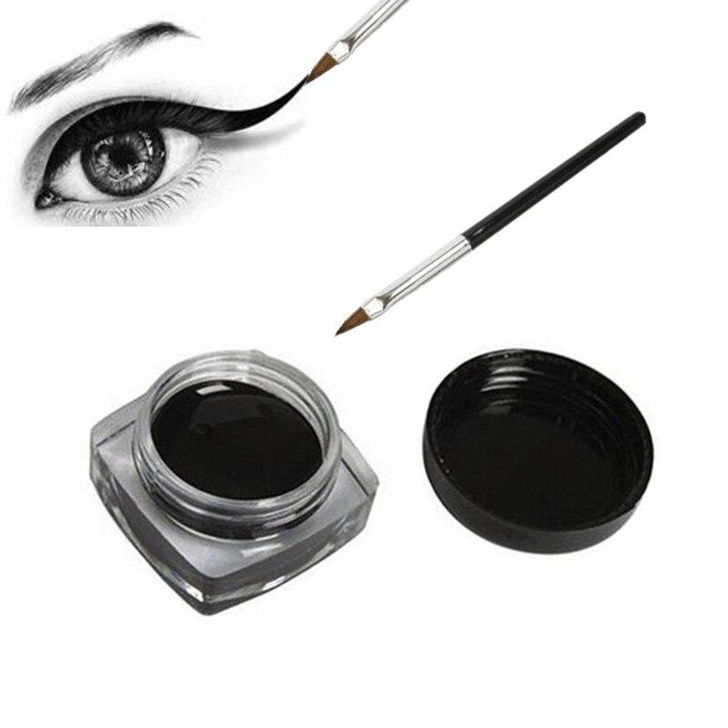 Black Waterproof Eyeliner Cream Make Up Beauty Comestics Long-lasting Eye Liner Gel Makeup Tools For Eyeshadow With Brush