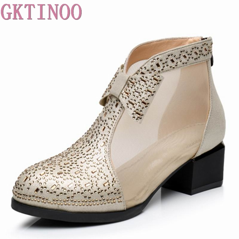 GKTINOO Women Boots Genuine Leather Ankle Boots Lace Summer Boots Zapatos Chaussures Femme Square High Heel