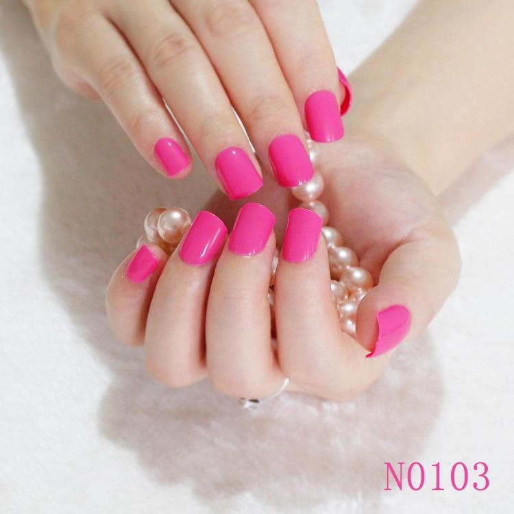 Candy Short Flat Fake Nails light Rose Pink BeautiFul Lady Nail ...