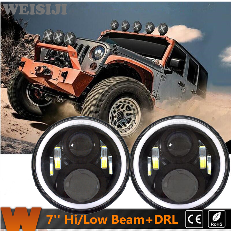 2016 New 1Pair WEISIJI 50W 7'' LED Headlight with DRL High/Low Beam Driving Lights for Jeep Wrangler Hummer Yamaha Harley