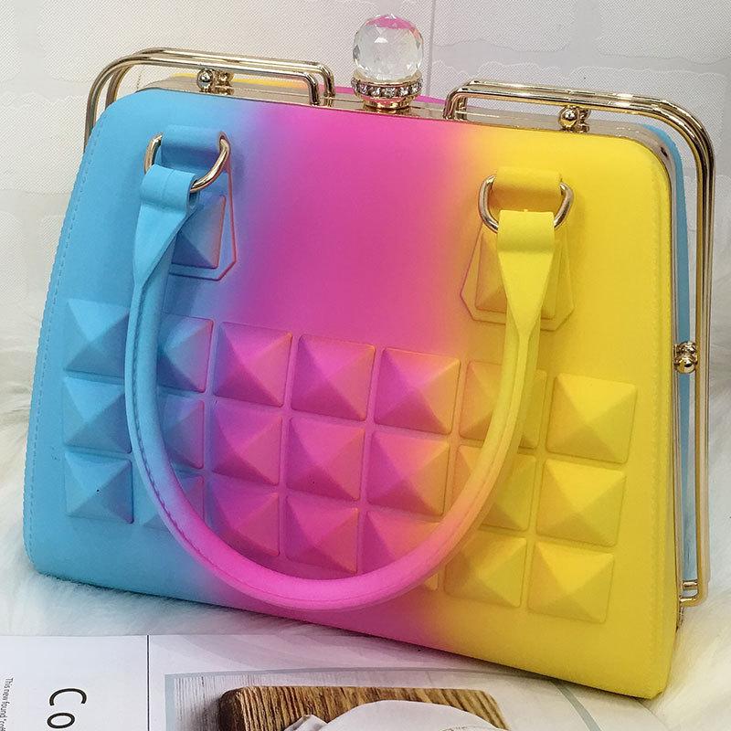 2019 New Colorful Handbag Frosted Large Capacity Casual Totes Clip Bag Fashion PVC Jelly Bag Bolsa