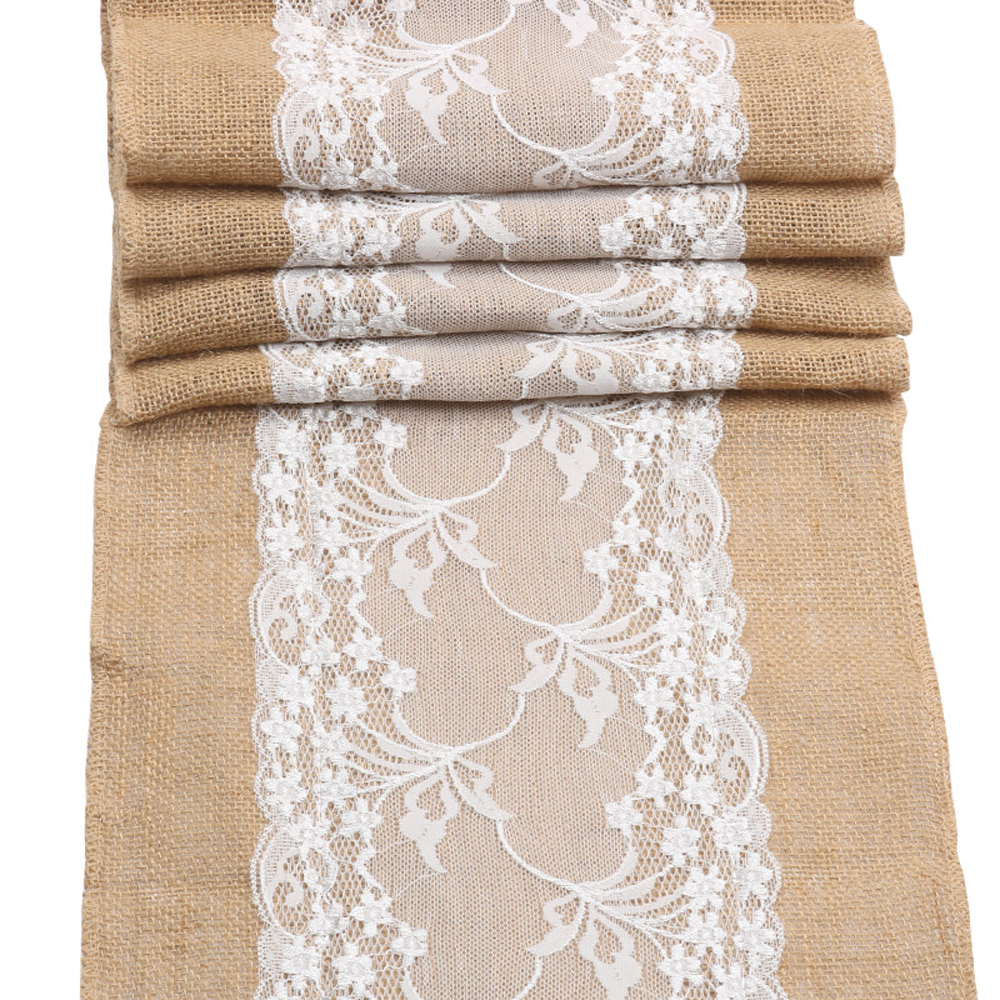 Burlap Table Runners Lace Hessian Burlap Fabric Rolls For Rustic Country Weddings Party Dining Decorations And Crafts