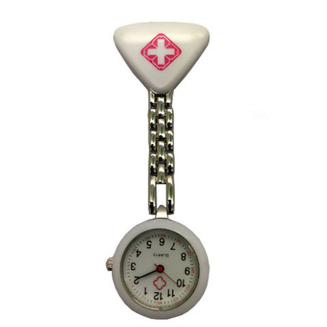 1PC Triangle Watches Clip Nurse Doctor Pendant Pocket Quartz Red Cross Brooch Nurses Watch Fob Hanging Medical