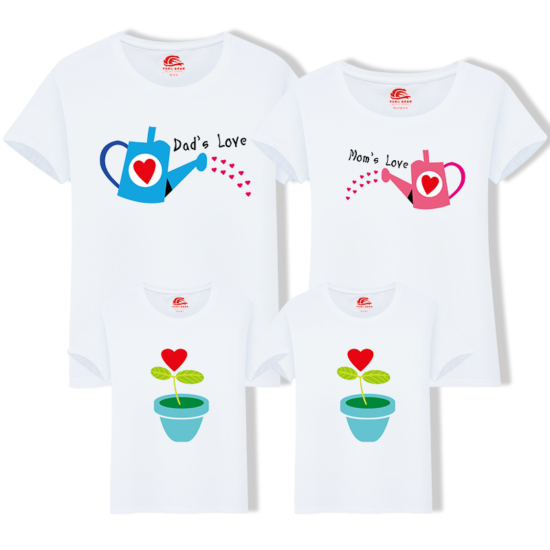 Matching Family Clothing 1 Piece Family Cultivate Love Summer Short-sleeve T-shirt Outfits For Mother Daughter And Father Son