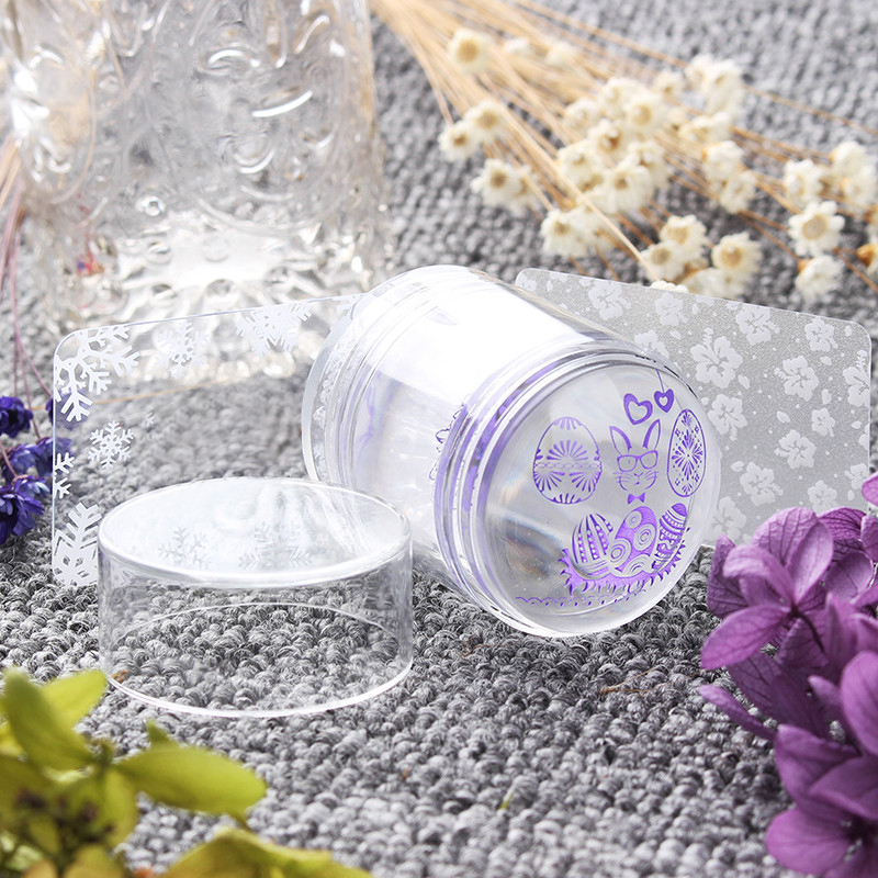 Dual XL Clear Jelly Stamper & 2 Scrapers Set Silikonhuvud med Rhinestone Cap Stamping Nail Tool