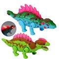 New Electric Andar Falando Brinquedo do Dinossauro Dos Desenhos Animados do Dinossauro Modelo Animal Brinquedos Interativos de Plástico Piscando Elétrica Na Cor Aleatória