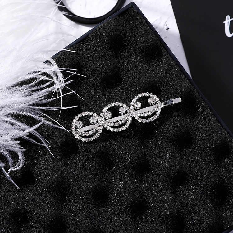 Mengjiqiao 2018 Korea Rambut Trendi Aksesoris Penuh Berlian Imitasi Wajah Senyum Huruf Rambut Pins untuk Wanita Pernikahan Rambut Aksesoris