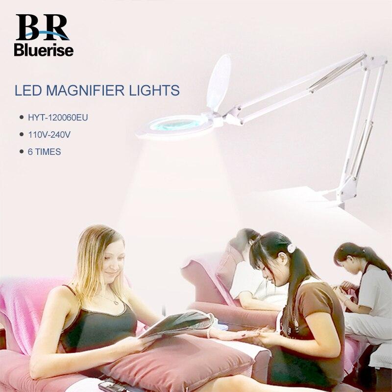 Светодиодная светодио дный лампа для ногтей 6 раз увеличительное стекло маникюр тату зубная больница салон красоты 8 Вт EU Plug настольная Скла...