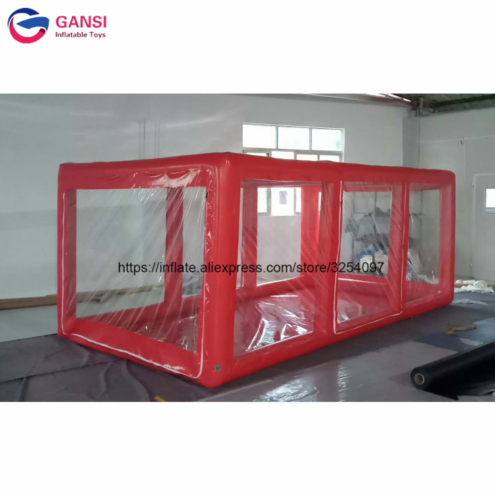 Red color 5m inflatable <font><b>car</b></font> capsule showcase <font><b>tent</b></font> professional manufacture inflatable <font><b>car</b></font> <font><b>garage</b></font> <font><b>tent</b></font> for sale image
