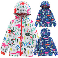 Girl's spring and autumn style double breasted hooded print cardigan jacket Dinosaur Cardigan Baby Kids Outwear Coat