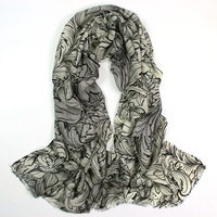 Women S Hand Painted 100 Merino Wool Pashmina Scarf Cashmere Scarves Shawl Ladies Flower Leaves Printed