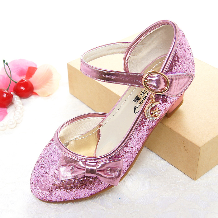 Sequins Childrens Leather Shoes Girls Shoes Spring Korean High Heels Princess Shoes 2018 New Buckle Bowtie Cute Sandals