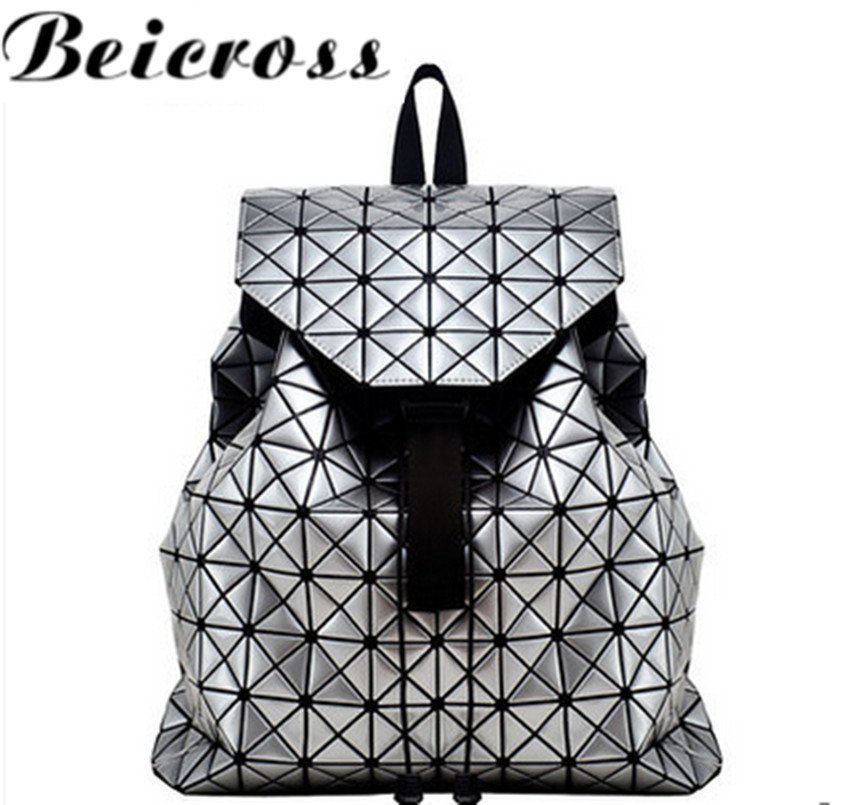 Big Valume Drawstring Plaid Color Block Patchwork Backpack Women s Laser Bag LY1855