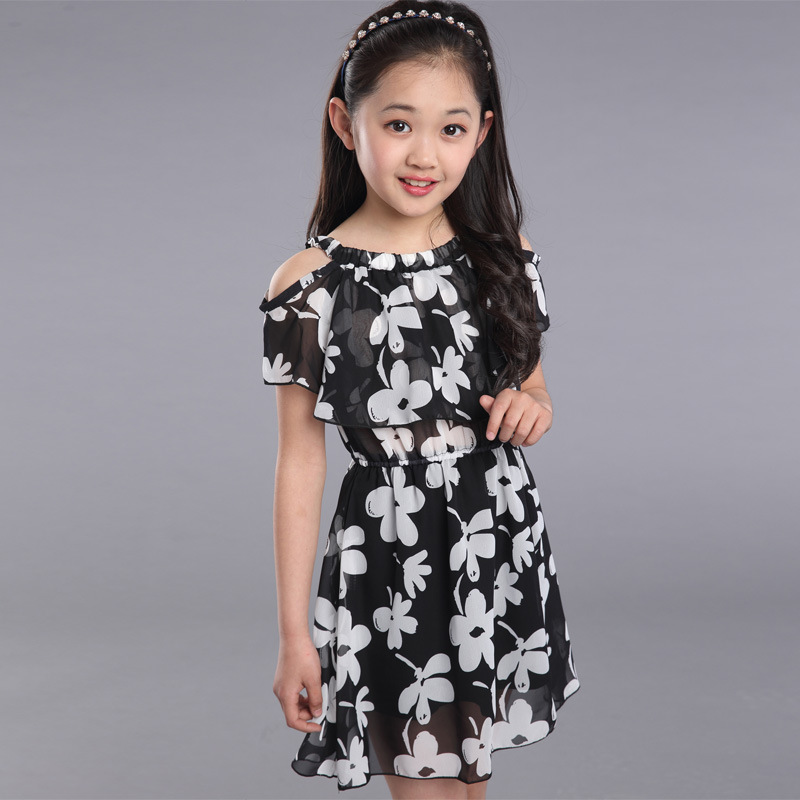 Big Girl Dresses Summer 2016 New Children's Clothing Kids Flower Dress Chiffon Princess Costume Girls Kids 7 8 9 10 11 12 Years