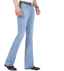 Image 2 - 2019 neue Sommer Dünne Herren Ausgestelltes Bein Jeans Hohe Taille Lange Flare Jeans Für Männer Bootcut Blue Jeans Hommes glocke bottom jeans männer