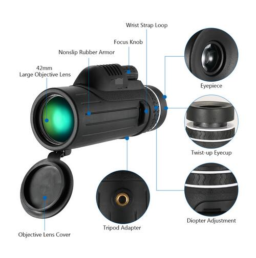 Handheld Monocular BAK 4 Monocular Telescope Powerful Hunting Spotting Scope for Outdoor Bird Watching Concert with phone