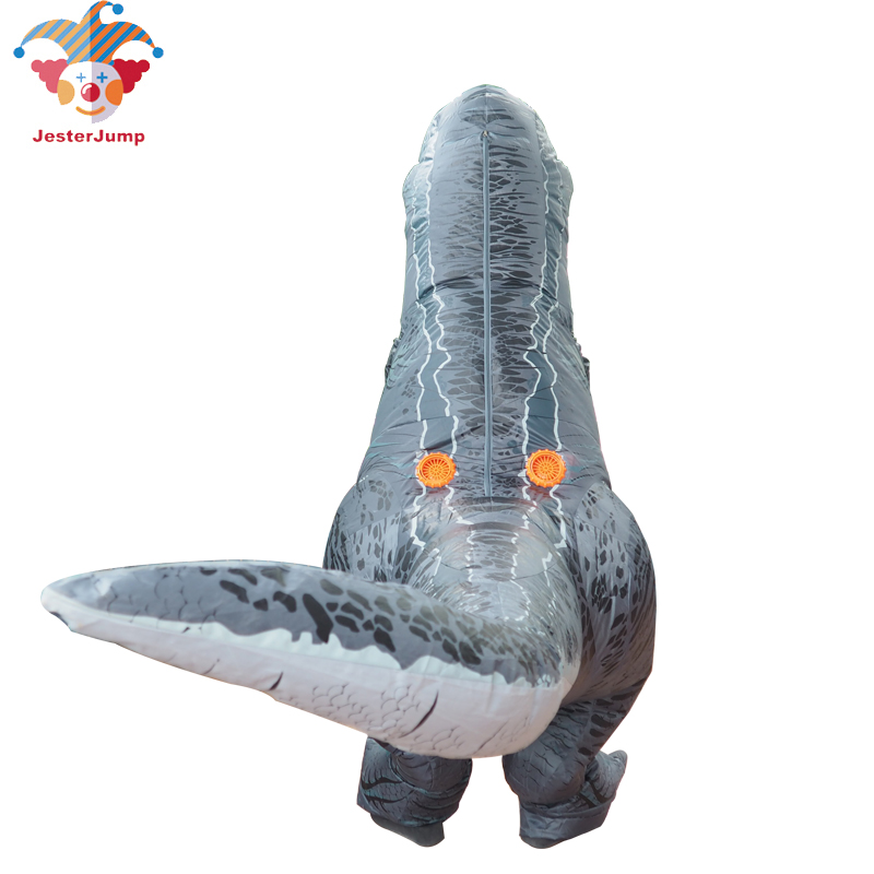 Jurassic World Adult Velociraptor Costume Cosplay Fantasy Inflatable T REX Raptor Dinosaur Party Halloween Costume for Women Men (9)