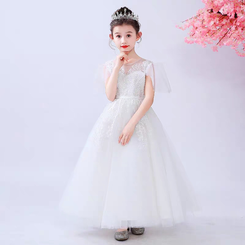 e09723a61 2019Good-Quality Children Girls White Wedding Birthday Party Back Bow  Princess Long Dress Kids Teens Piano Costume Host Dresses