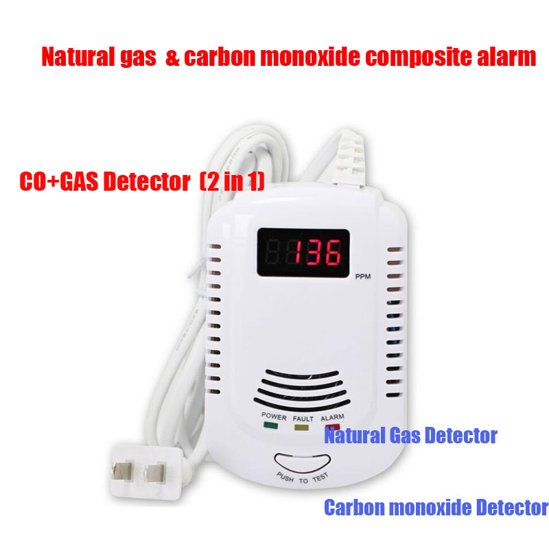 Home Standalone Plug-In Combustible With Voice Warning Alarm Sensor combination carbon monoxide detector lpg gas leak detector
